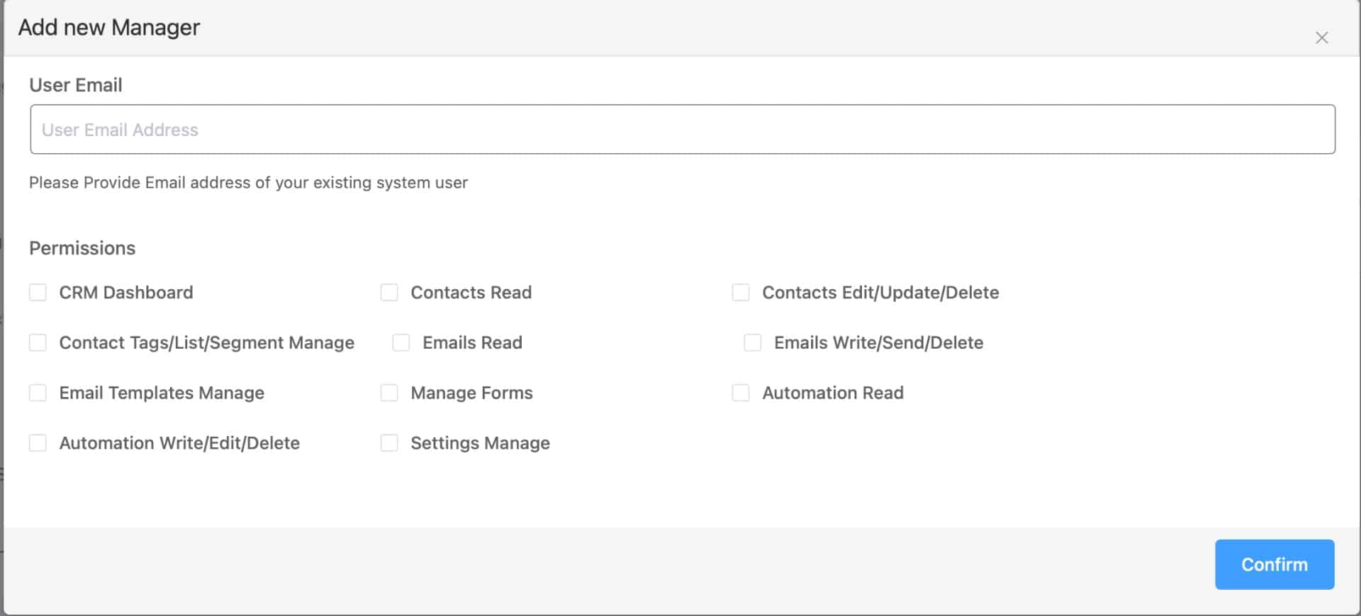 FluentCRM Add New Manager