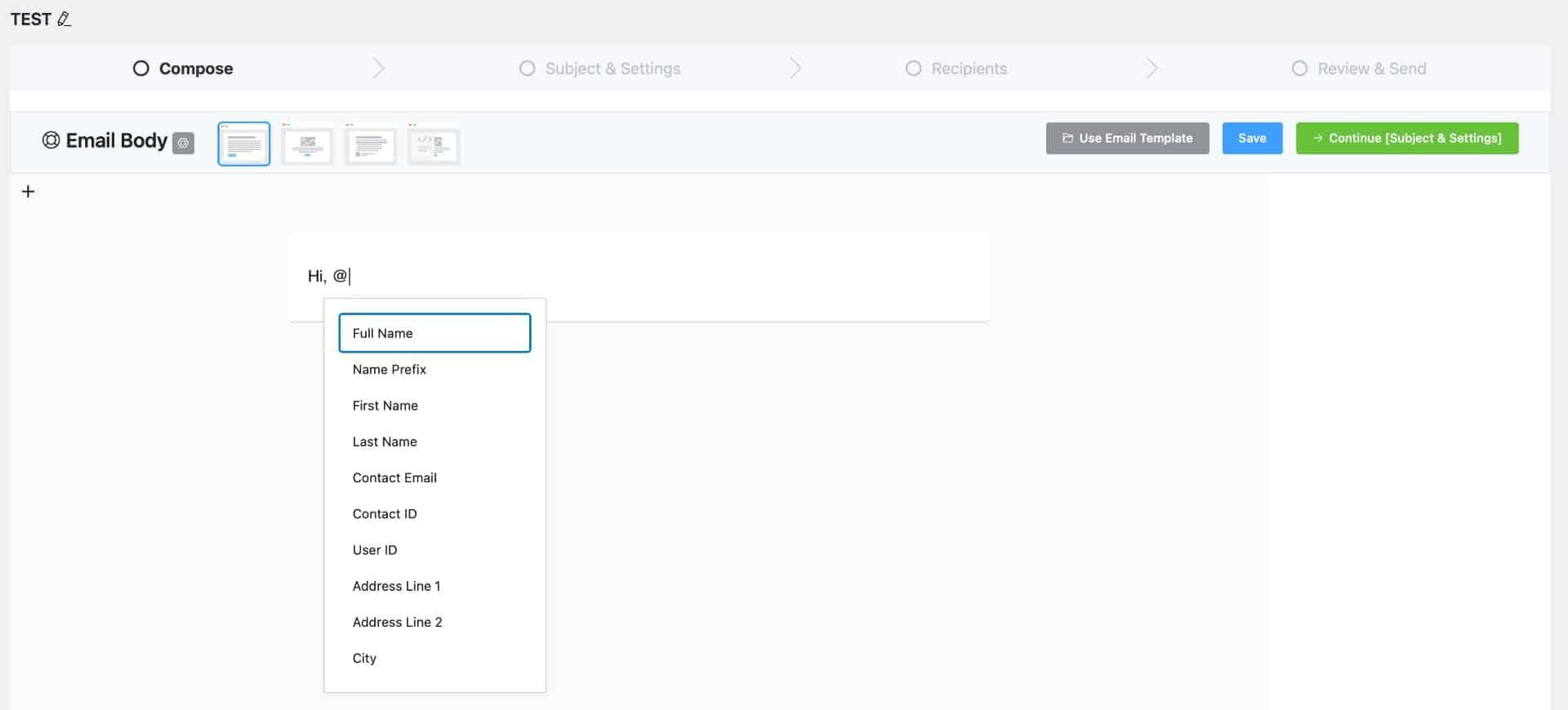 FluentCRM Email Editor