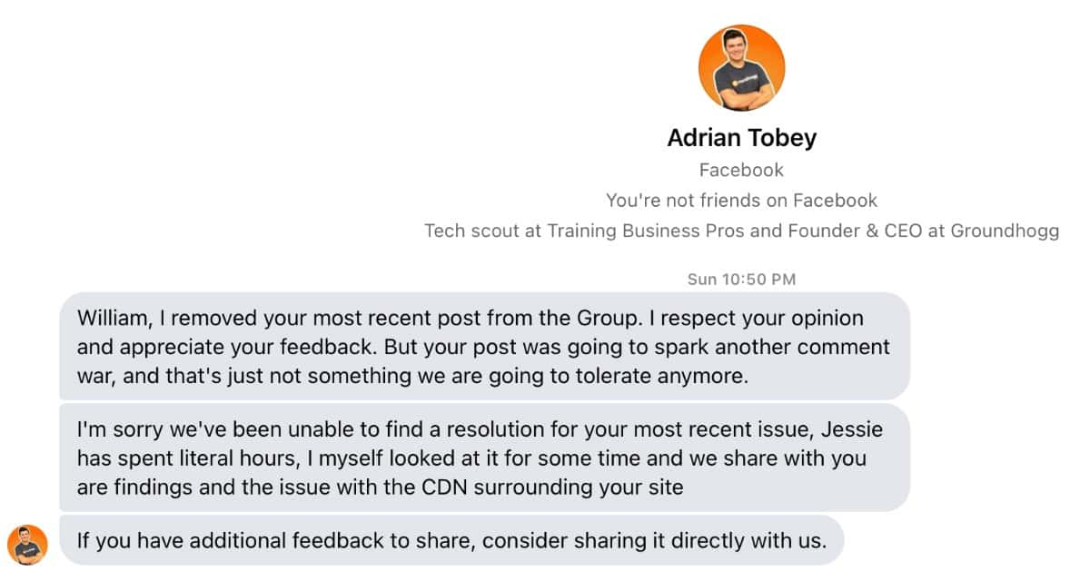 Groundhogg CRM CEO Adrian Tobey Response 1