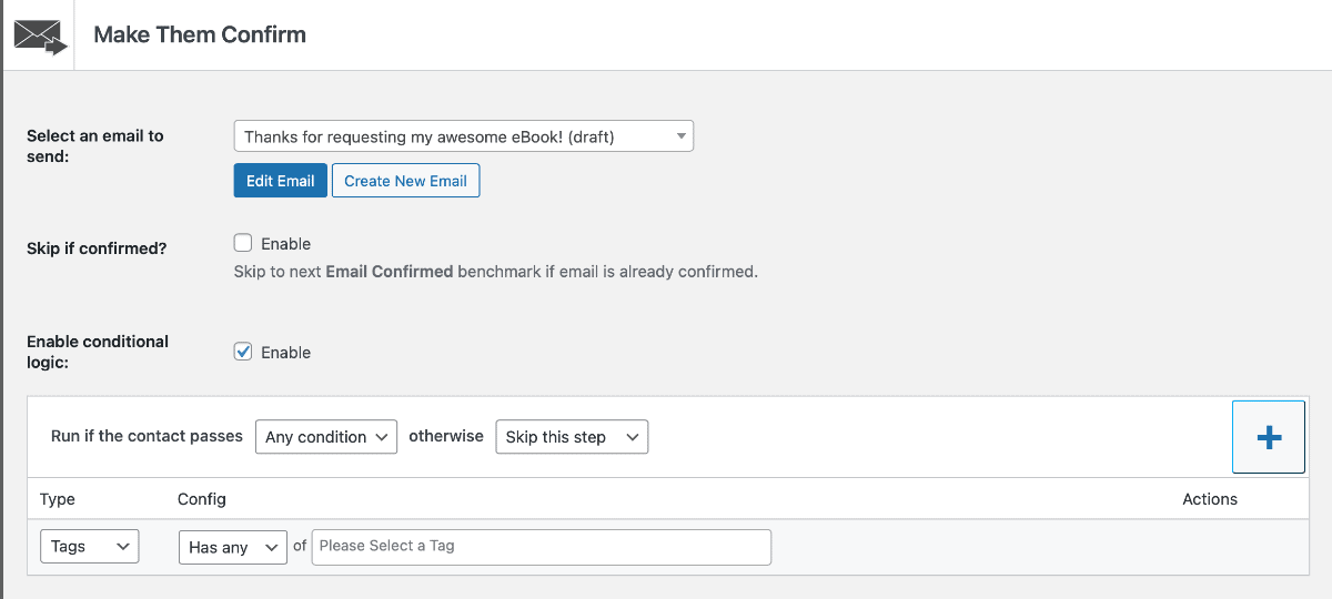 Groundhogg CRM conditional logic