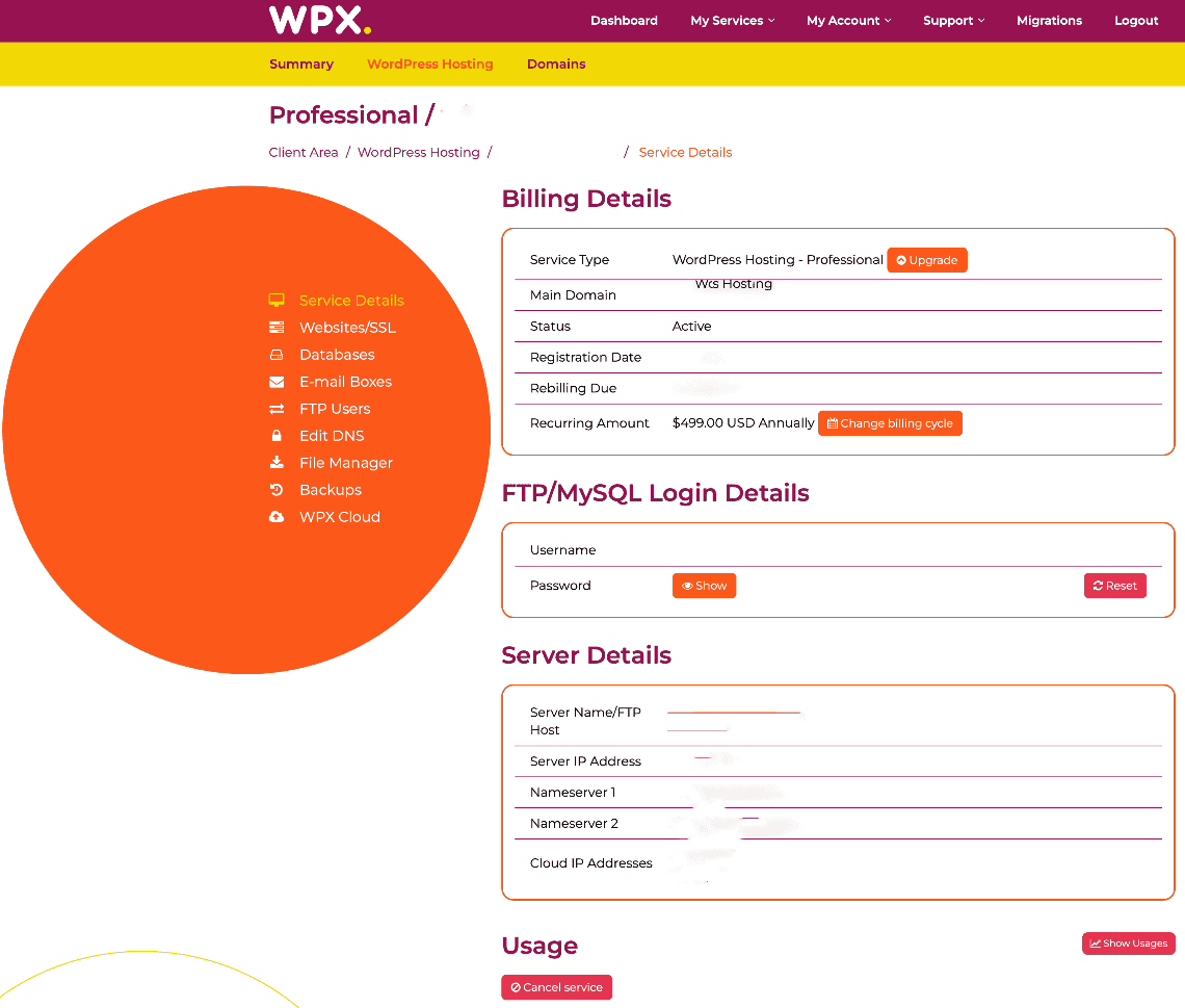 WX Hosting Review - User Interface