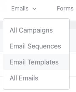 Email Templates Menu