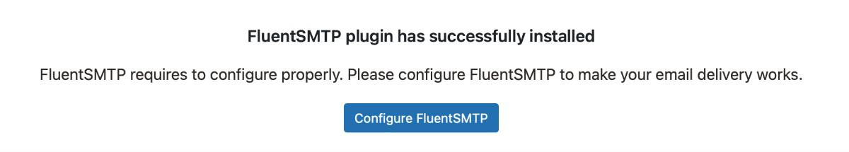 Fluent SMTP Installed Successfully