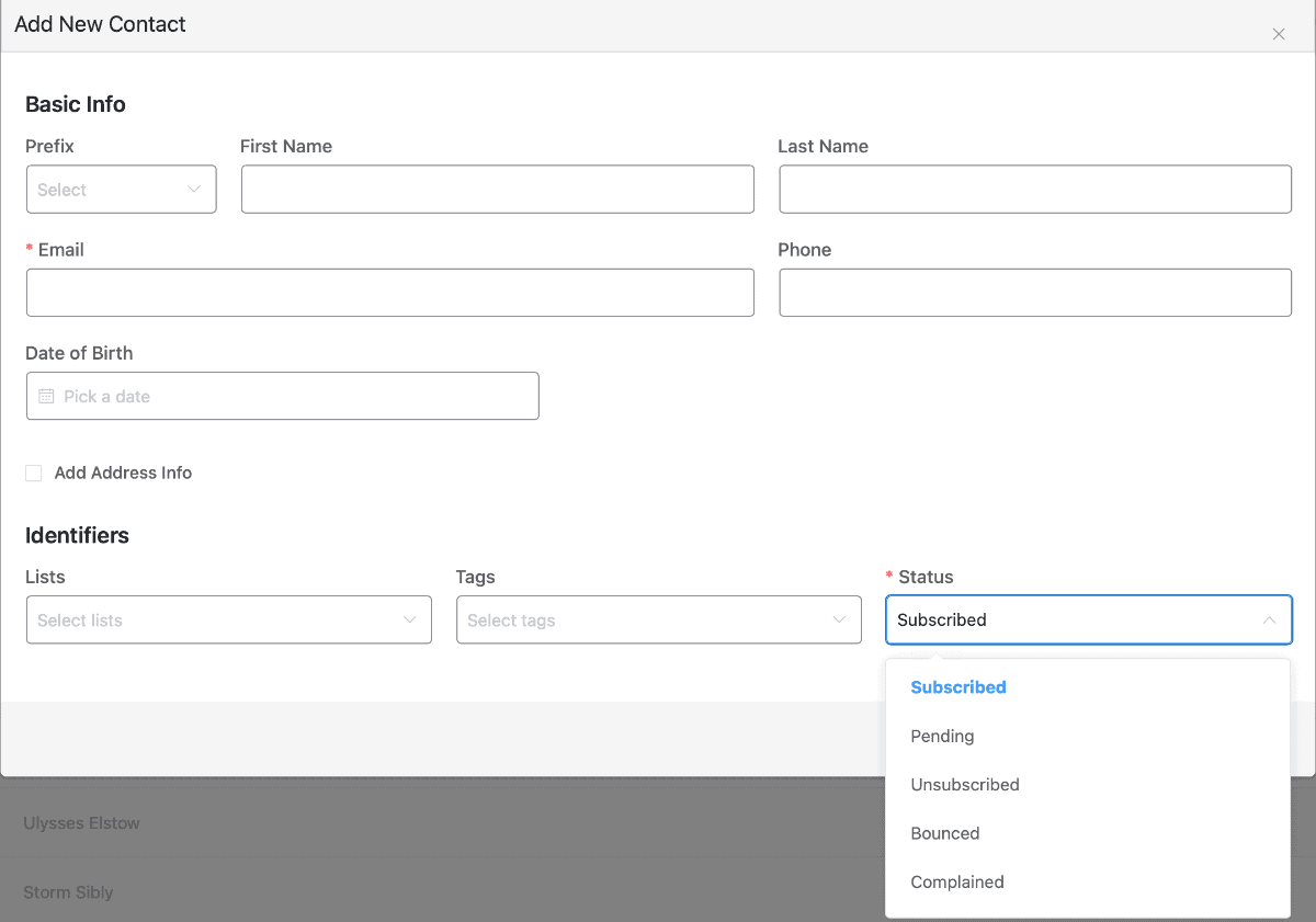 Manually add contact record
