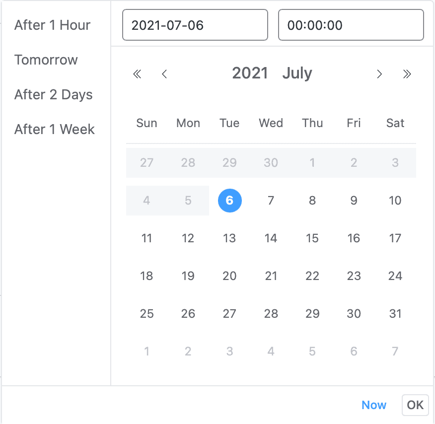 Schedule Date and Time