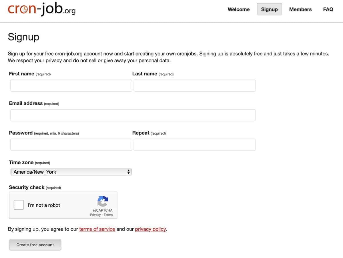 cron-job signup