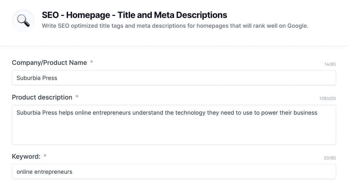 SEO Homepage and Title and Meta Template in Jarvis AI