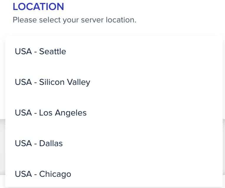 Choose a server location