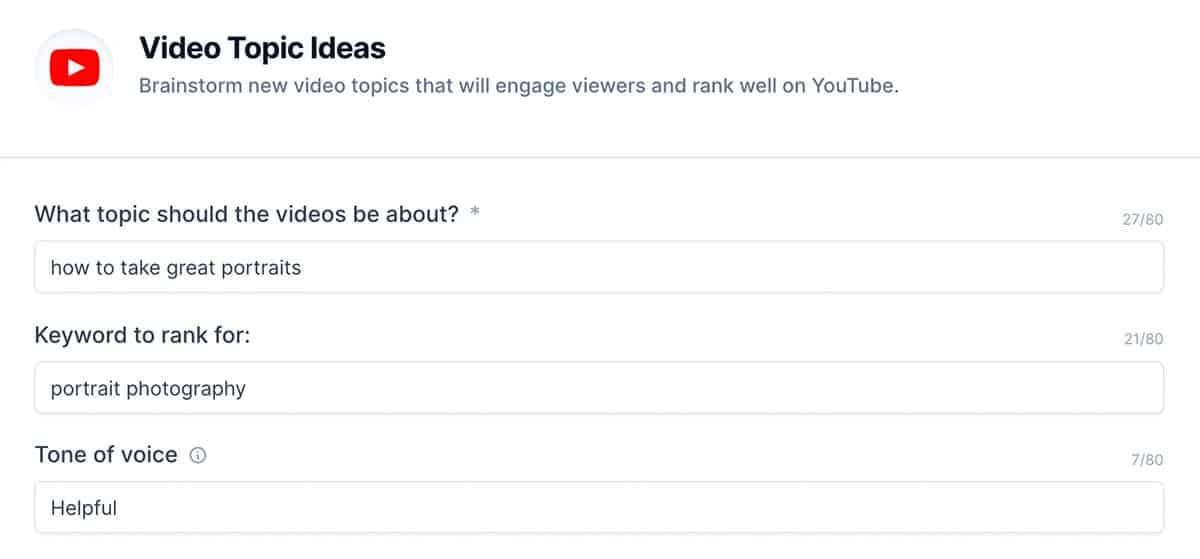 Video Topic Ideas template for Jarvis AI